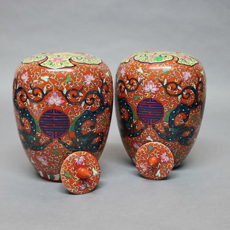 20th Century Antique Chinese Enameled Porcelain Polychrome Foliate & Dragon Urns, circa 1920 For Sale
