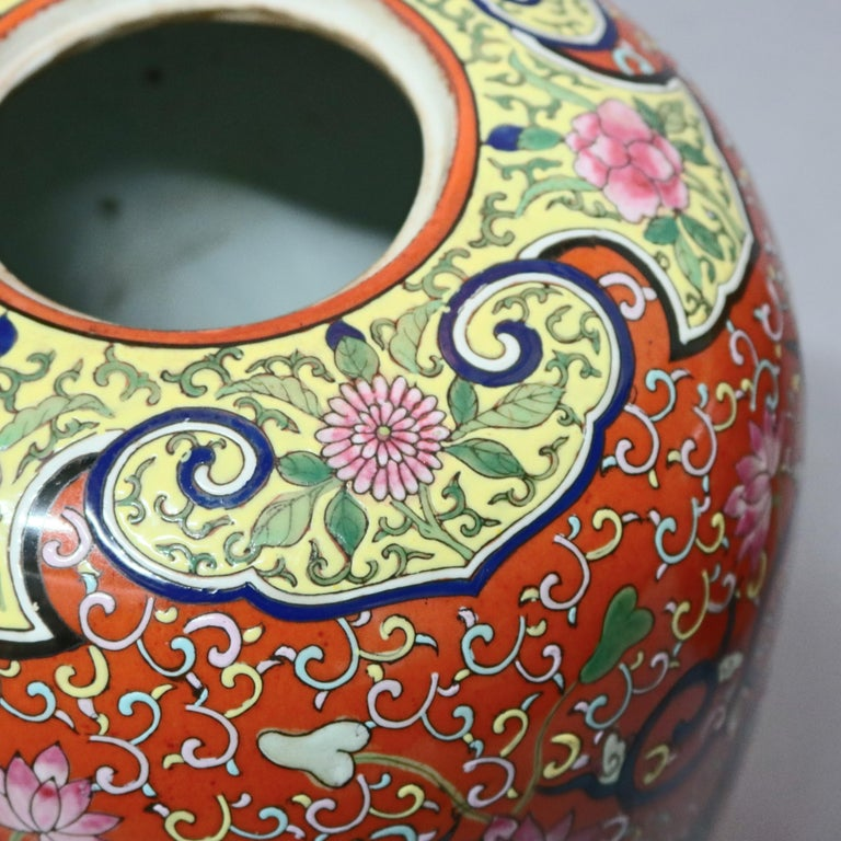 Antique Chinese Enameled Porcelain Polychrome Foliate & Dragon Urns, circa 1920 For Sale 3