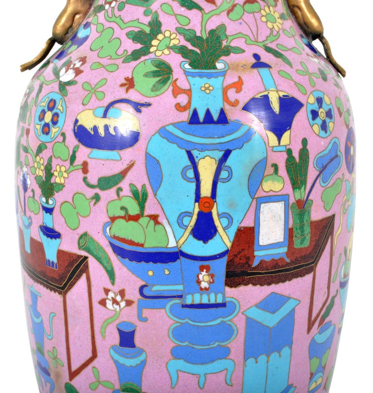 Large Antique Chinese 'Hundred Treasures' Cloisonne Vase Republic Period 1920 For Sale 3
