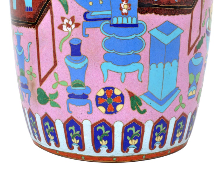 Large Antique Chinese 'Hundred Treasures' Cloisonne Vase Republic Period 1920 For Sale 4