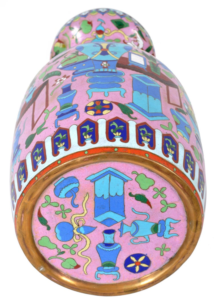 Large Antique Chinese 'Hundred Treasures' Cloisonne Vase Republic Period 1920 For Sale 5