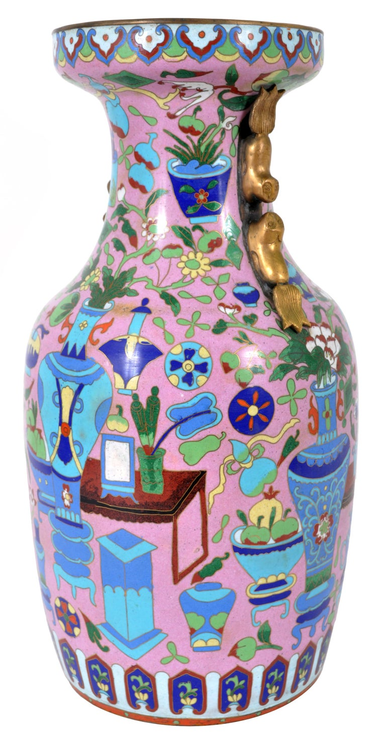 Qing Large Antique Chinese 'Hundred Treasures' Cloisonne Vase Republic Period 1920 For Sale