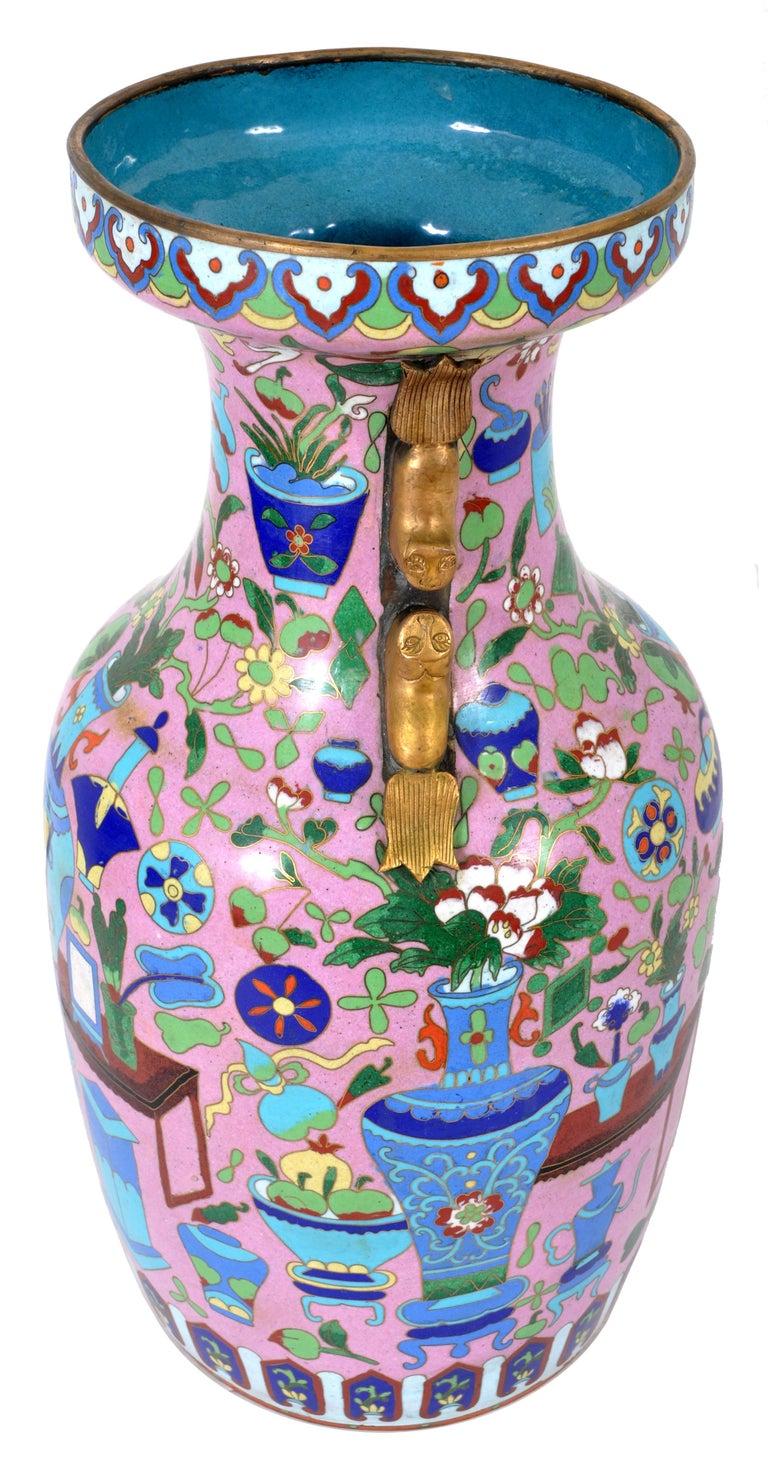 Cloissoné Large Antique Chinese 'Hundred Treasures' Cloisonne Vase Republic Period 1920 For Sale