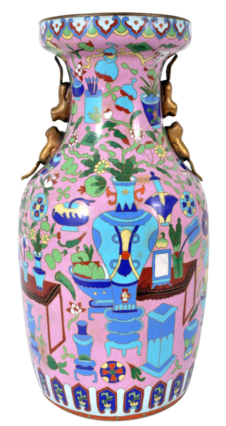 Large Antique Chinese 'Hundred Treasures' Cloisonne Vase Republic Period 1920 In Good Condition For Sale In Portland, OR