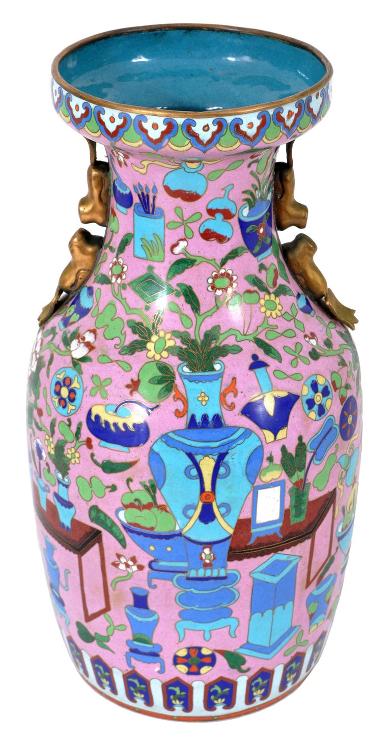Early 20th Century Large Antique Chinese 'Hundred Treasures' Cloisonne Vase Republic Period 1920 For Sale