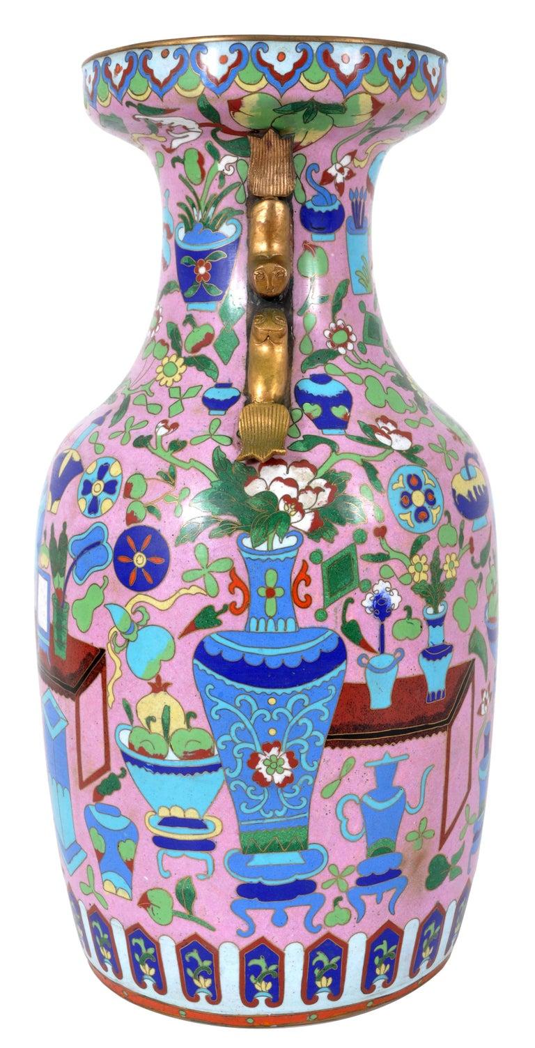 Enamel Large Antique Chinese 'Hundred Treasures' Cloisonne Vase Republic Period 1920 For Sale