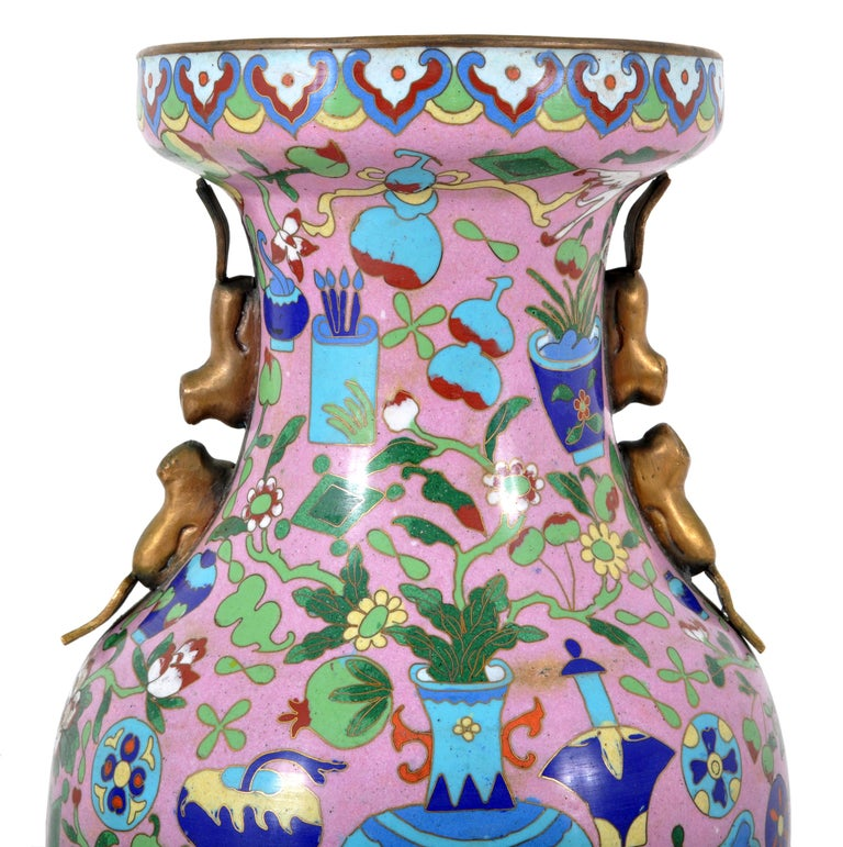 Large Antique Chinese 'Hundred Treasures' Cloisonne Vase Republic Period 1920 For Sale 1