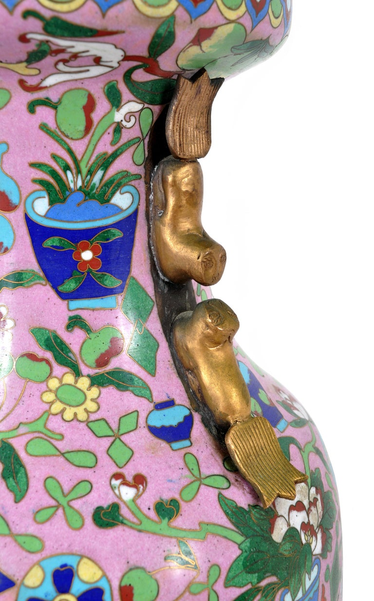 Large Antique Chinese 'Hundred Treasures' Cloisonne Vase Republic Period 1920 For Sale 2