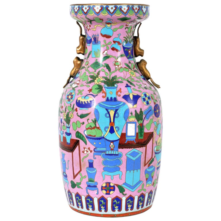 Large Antique Chinese 'Hundred Treasures' Cloisonne Vase Republic Period 1920 For Sale