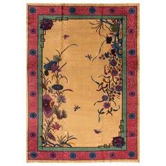 Large Antique Chinese Nichols Wool Rug