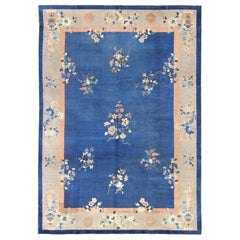 Large Antique Chinese Pecking Rug with Flowers and Vases in Navy Blue and Tan