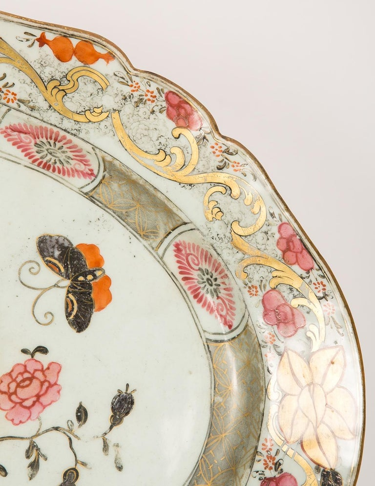 Hand-Painted Large Antique Chinese Porcelain Platter Qing Dynasty,  Mid 19th Century For Sale