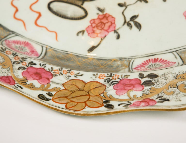 Large Antique Chinese Porcelain Platter Qing Dynasty,  Mid 19th Century For Sale 1