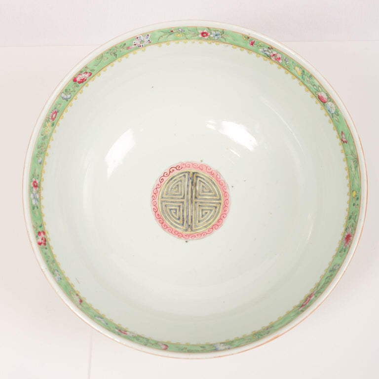 Large Antique Chinese Porcelain Punch Bowl Famille Rose Symbolizing Yin and Yang For Sale 5