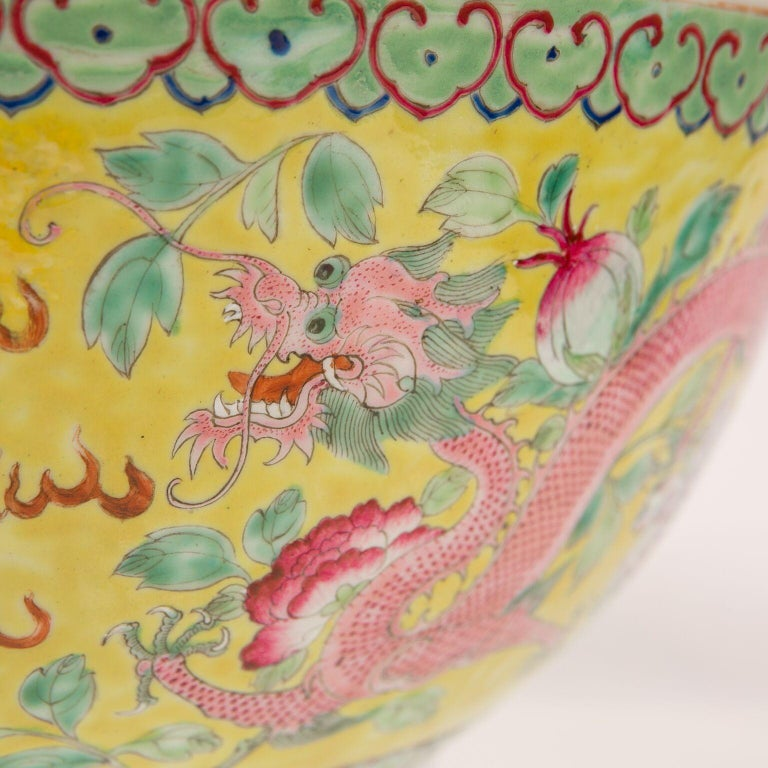 Qing Large Antique Chinese Porcelain Punch Bowl Famille Rose Symbolizing Yin and Yang For Sale