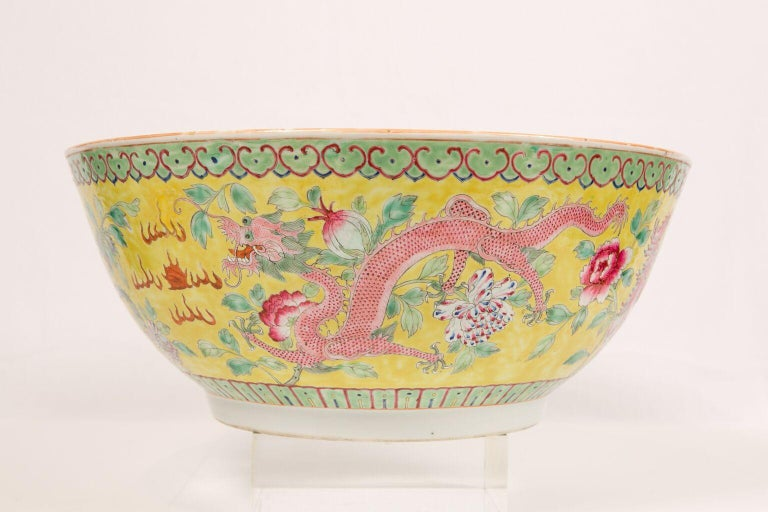 Hand-Painted Large Antique Chinese Porcelain Punch Bowl Famille Rose Symbolizing Yin and Yang For Sale