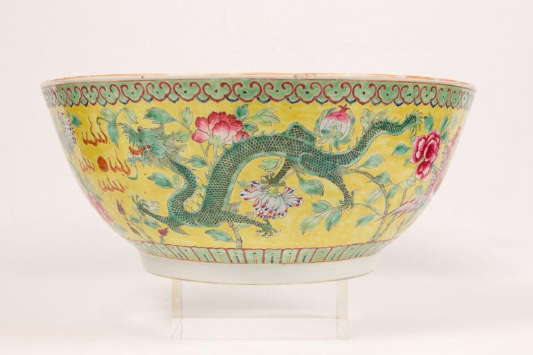 Large Antique Chinese Porcelain Punch Bowl Famille Rose Symbolizing Yin and Yang In Excellent Condition For Sale In Katonah, NY