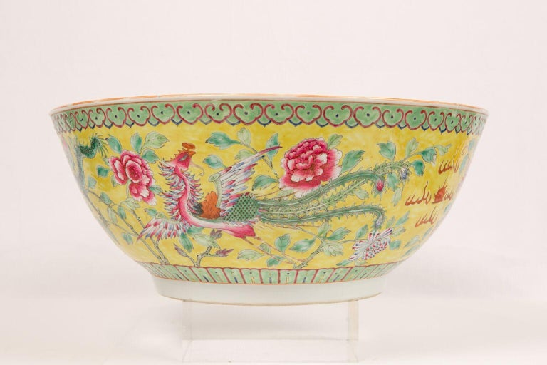 20th Century Large Antique Chinese Porcelain Punch Bowl Famille Rose Symbolizing Yin and Yang For Sale