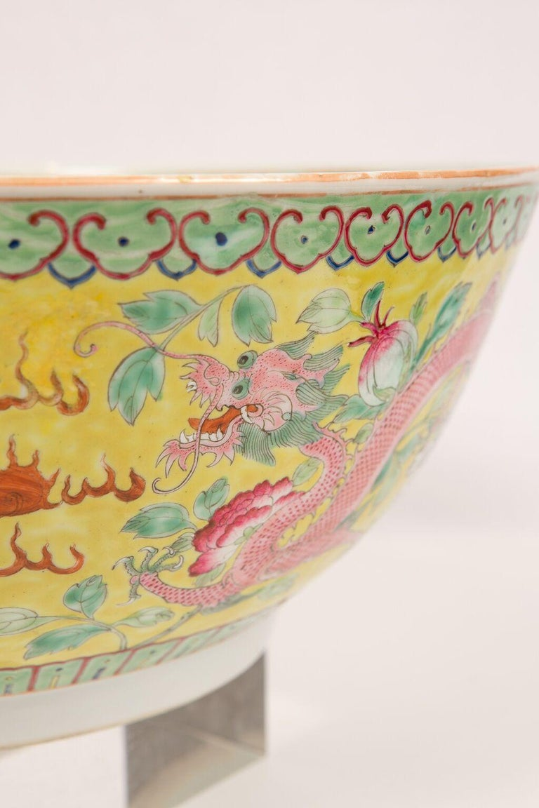 Large Antique Chinese Porcelain Punch Bowl Famille Rose Symbolizing Yin and Yang For Sale 1