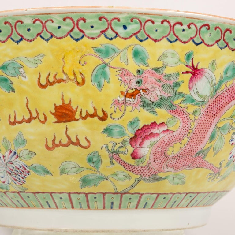 Large Antique Chinese Porcelain Punch Bowl Famille Rose Symbolizing Yin and Yang For Sale 3