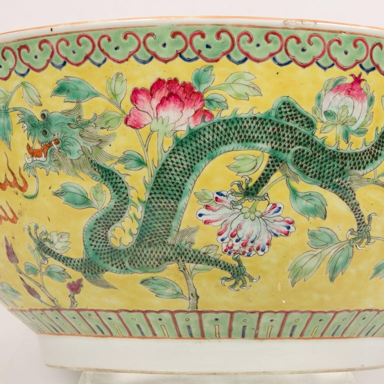 Large Antique Chinese Porcelain Punch Bowl Famille Rose Symbolizing Yin and Yang For Sale 4