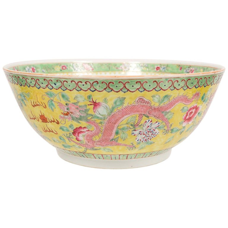 Large Antique Chinese Porcelain Punch Bowl Famille Rose Symbolizing Yin and Yang For Sale