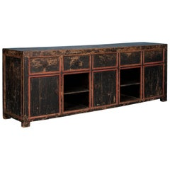 Large Antique Chinese Sideboard Painted Black with Red Trim