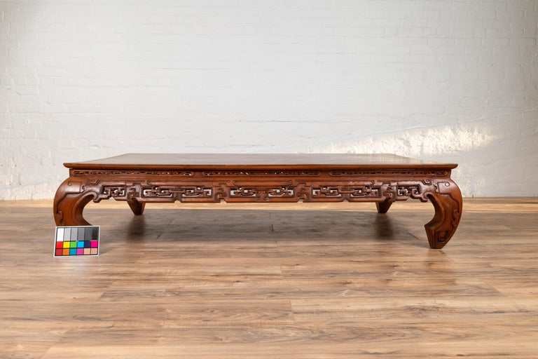Large Antique Chinese Teak Wood Coffee Table with Hand ...