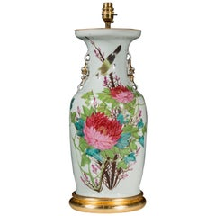 Large Antique Chinoiserie Vase Lamp 17 inches