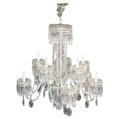 Large Antique circa 1920s Era Waterford Crystal 8-Light Chandelier