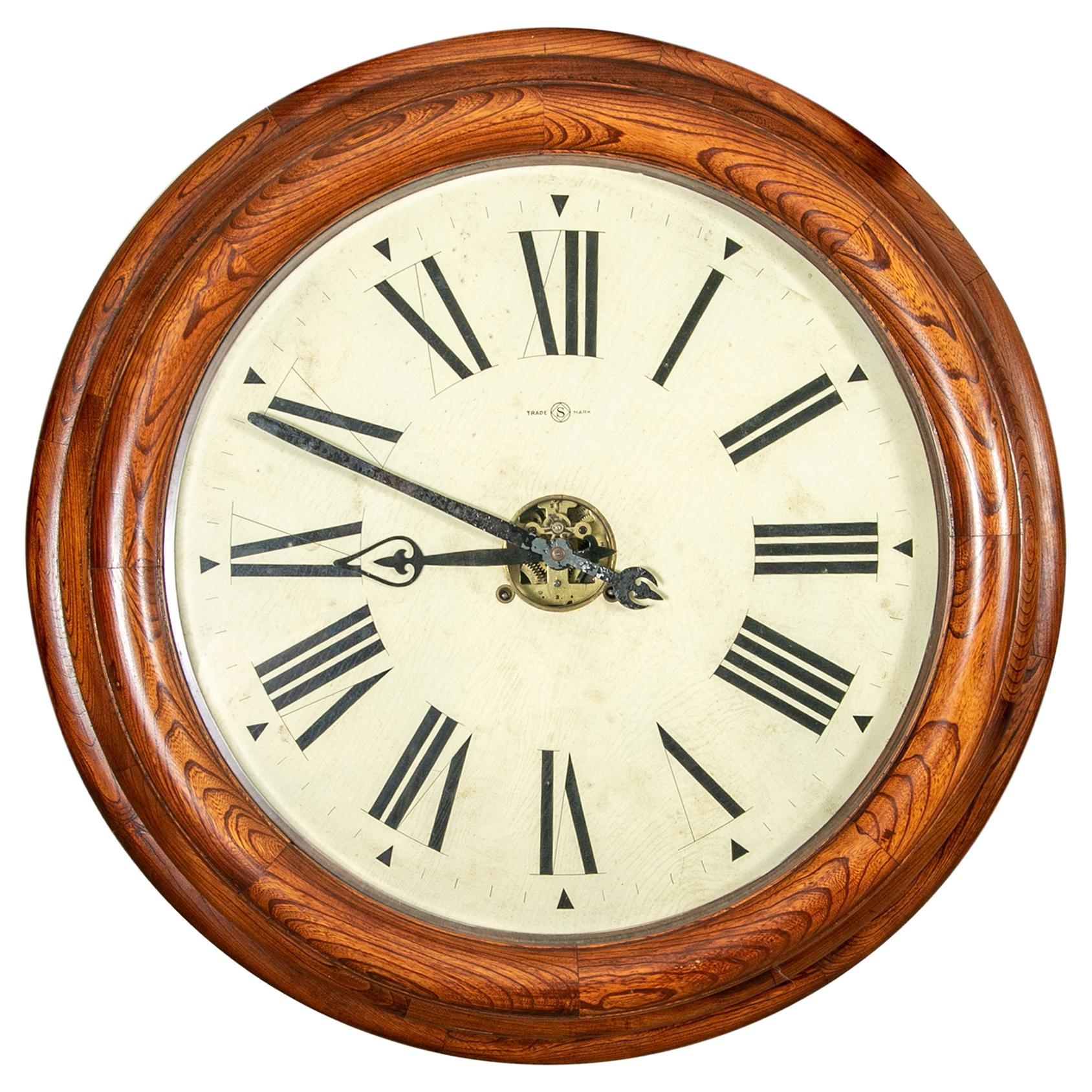 "Large Antique Circular Wall Clock Trade Mark ""S"""