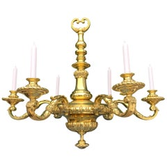 Large Antique NeoClassical Gold Color Bronze 6 arm Candle or Electric Chandelier
