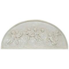 Large and Antique Classical Porcelain Relief Crescent Form Cherub Plaque