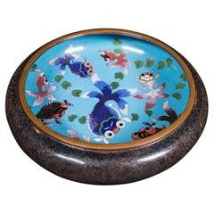 Large Antique Cloisonne Bowl, Chinese, Ceramic, Fishbowl, Serving Dish, c.1900
