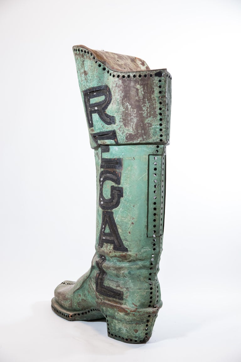 Hand-Crafted Large Antique Copper 3D Regal Boot Trade Sign For Sale