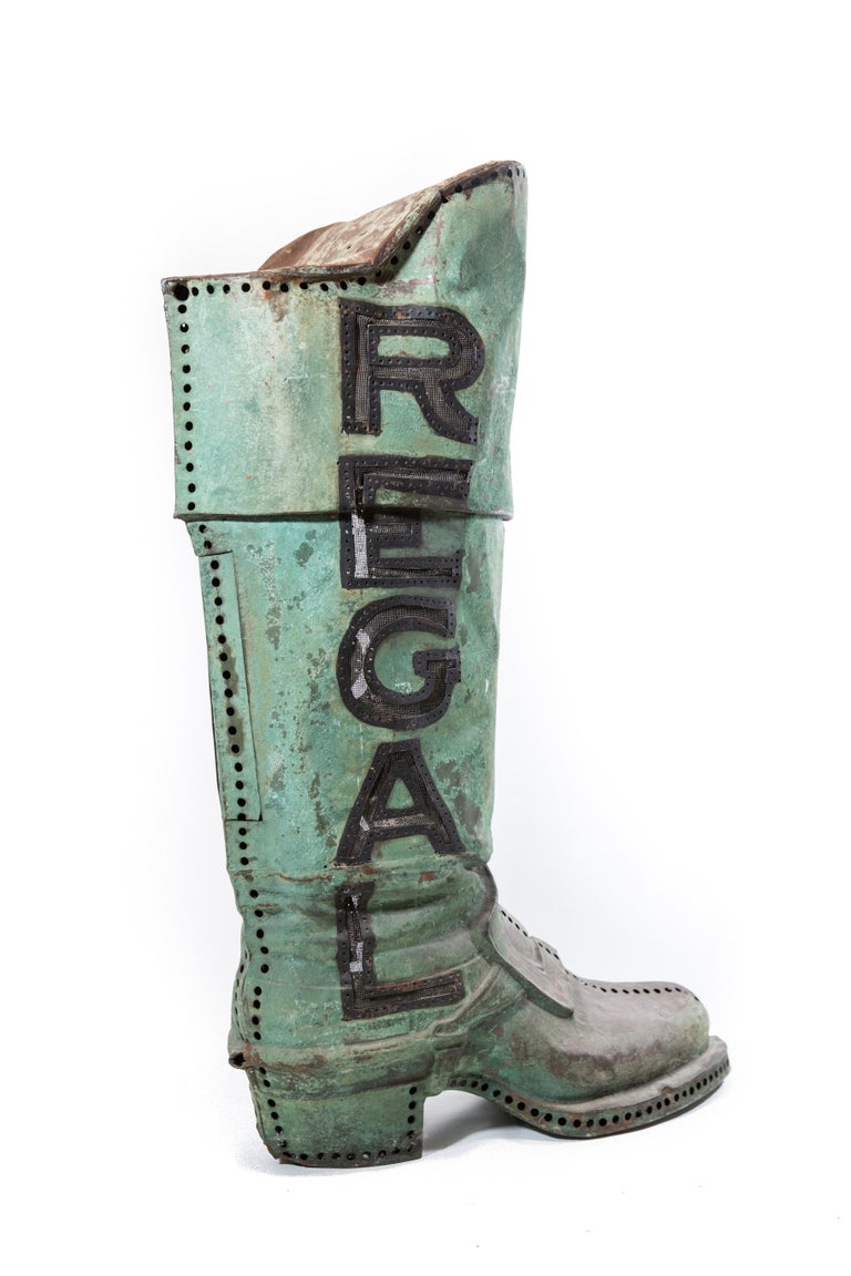 20th Century Large Antique Copper 3D Regal Boot Trade Sign For Sale