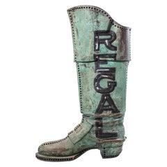 Large Antique Copper 3D Regal Boot Trade Sign