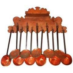Large Antique Copper and Iron Forged Cookware with Walnut Wood Pendant
