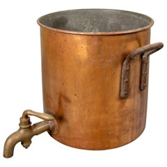 Large Antique Copper Dispenser with Brass Spigot