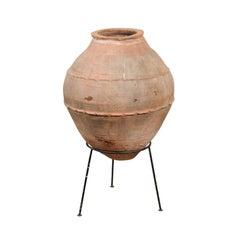 Large Antique Cretan Olive Jar on Stand