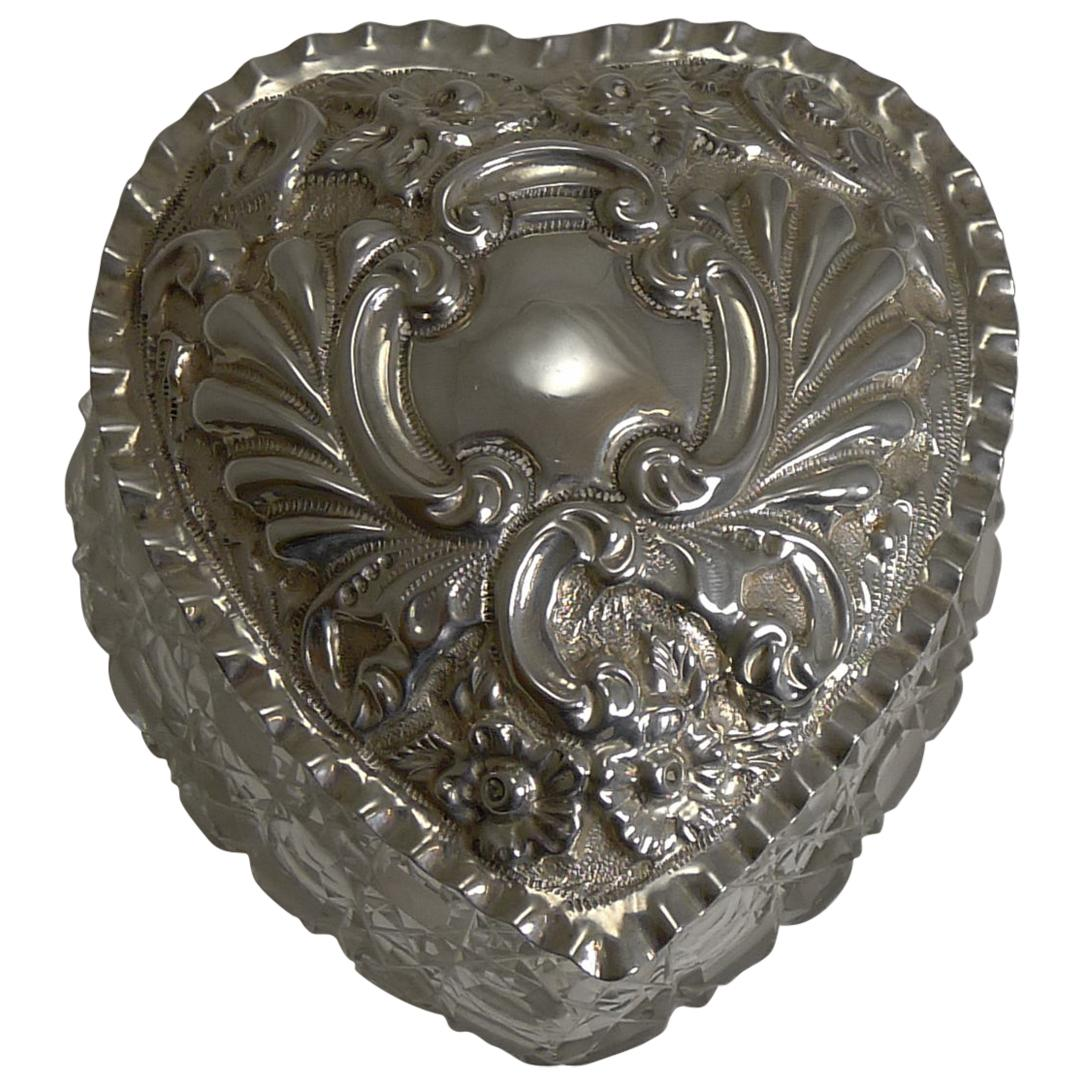Large Antique Cut Crystal and Sterling Silver Heart Shaped Box, 1903