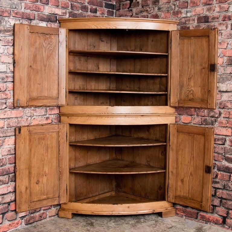 19th Century Large Antique Danish Bow Front Pine Corner Cabinet For Sale