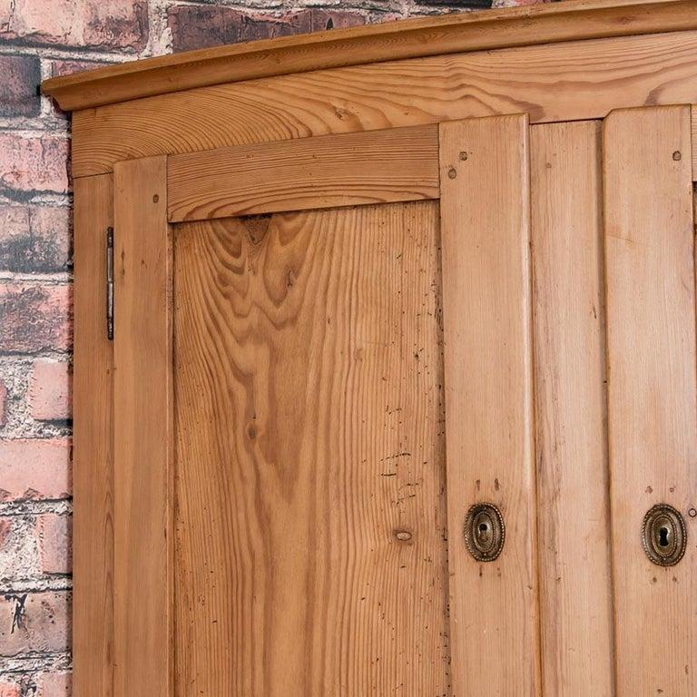 Large Antique Danish Bow Front Pine Corner Cabinet For Sale 1