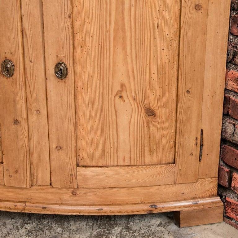 Large Antique Danish Bow Front Pine Corner Cabinet For Sale 2