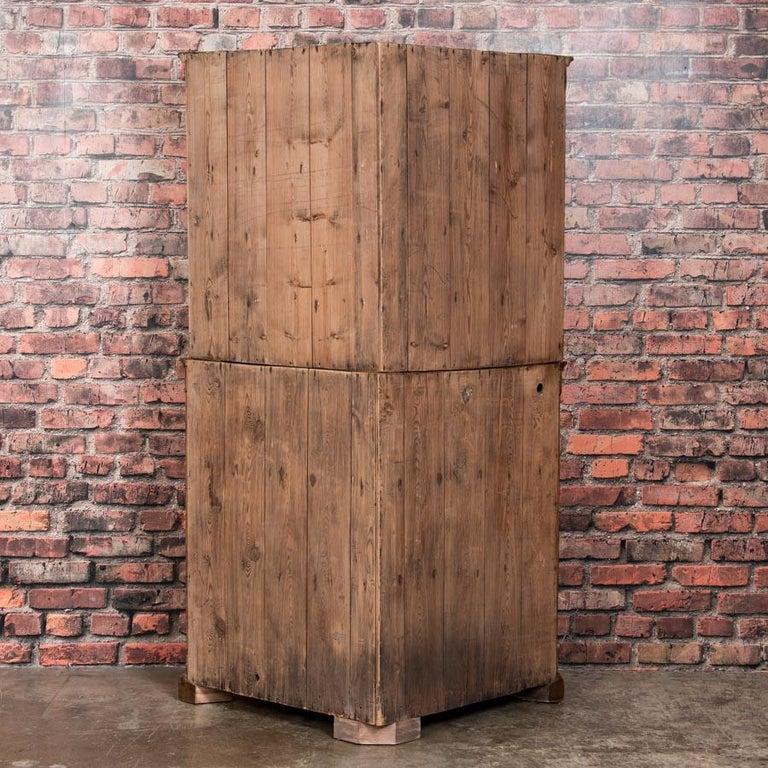 Large Antique Danish Bow Front Pine Corner Cabinet For Sale 4