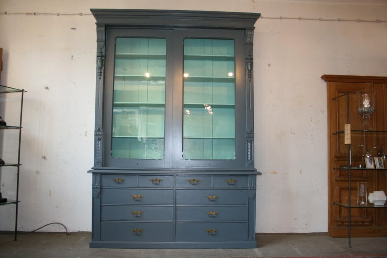 Large Antique Display Cabinet with Sliding Doors, handpainted blue For Sale  8 - Large Antique Display Cabinet With Sliding Doors, Handpainted Blue