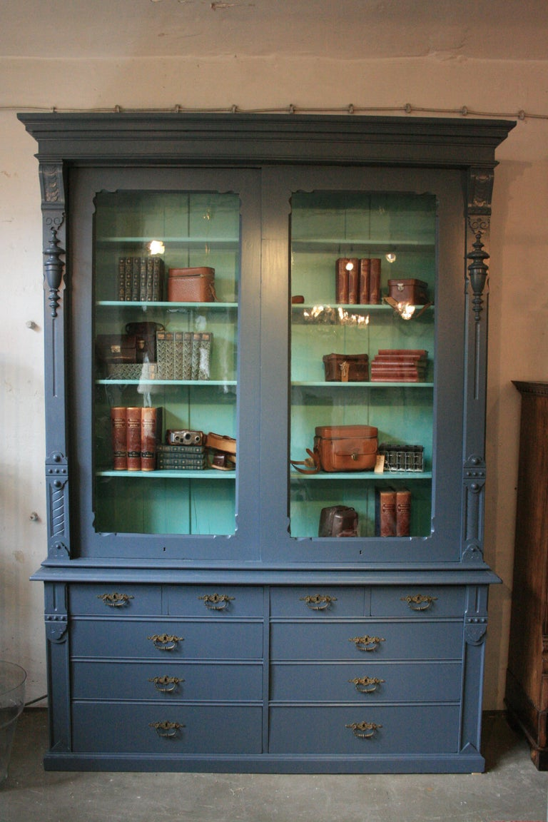 Large Antique Display Cabinet With Sliding Doors Handpainted Blue