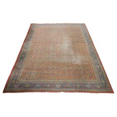 Large Antique Distressed Sultanabad/Ziegler Carpet Natural Colors
