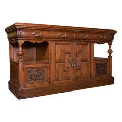 Large Antique Dresser Base, Scottish, Oak, Buffet, Server, Late Victorian, 1880