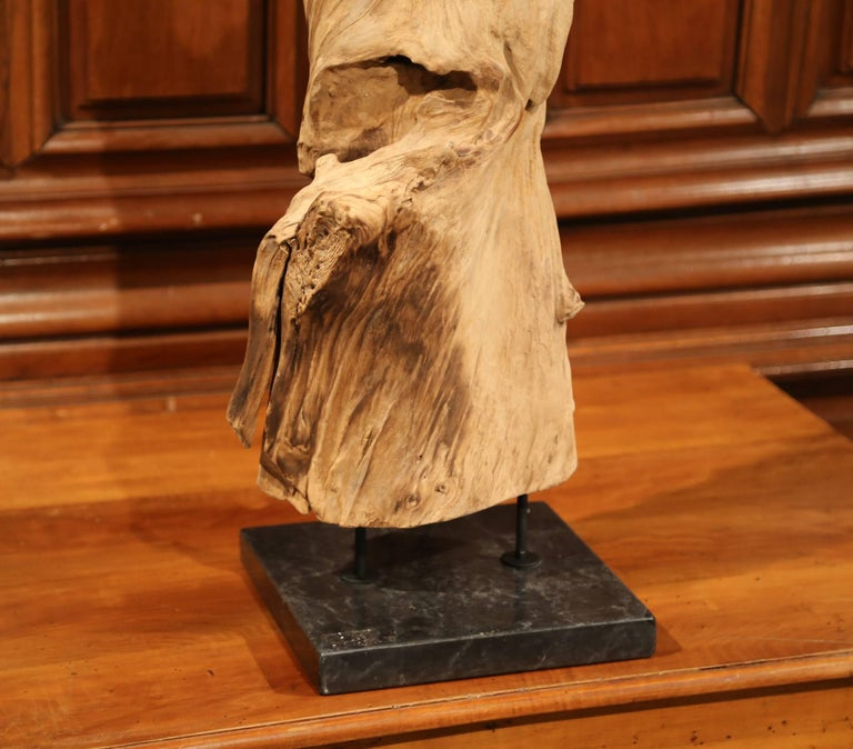 This beautiful, carved, driftwood sculpture was made from a single ficus tree. This enormous reclaimed tree root has a bleached natural finish and sits on a square, dark green marble base with double steel rod to secure the two. The natural, organic